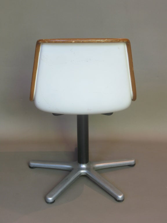 Set of Four Leather Mid-Century Desk or Dining Chairs For Sale 1