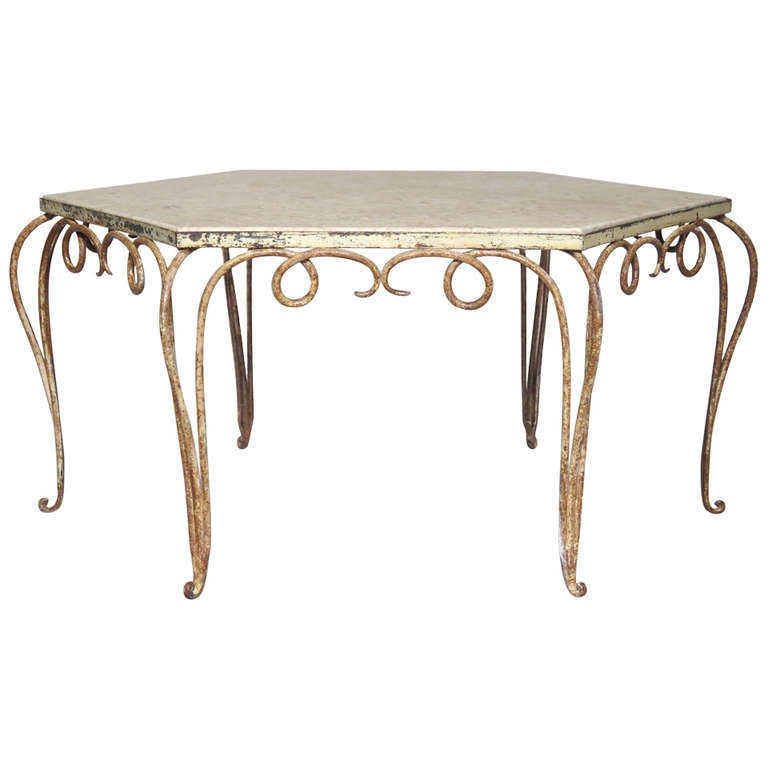Hexagonal coffee table wrought iron and marble france for Marble and wrought iron coffee table