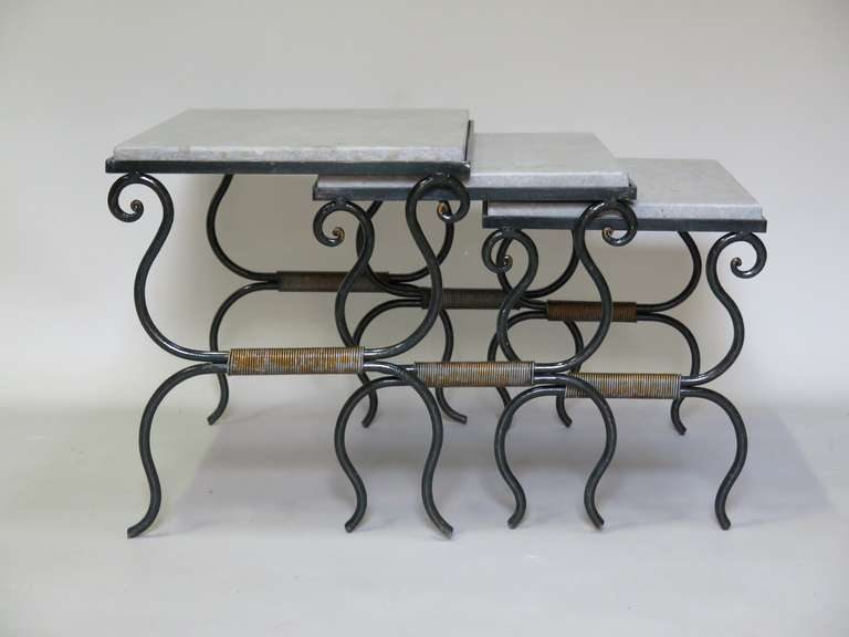 Good Set Of 3 Wrought Iron Nesting Tables   France, 1950s 2