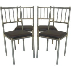 Set of 4 Faux-Bamboo Chrome Chairs - France, Circa 1950s