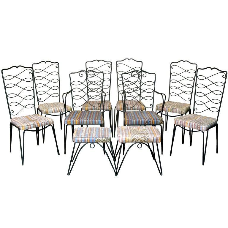 French 1940s Ten-Piece Chair Set by René Drouet