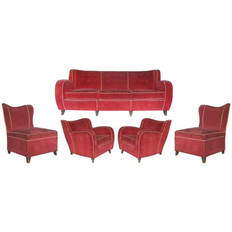 5 piece velvet living room set italy 1950s at 1stdibs for Living room 5 piece sets
