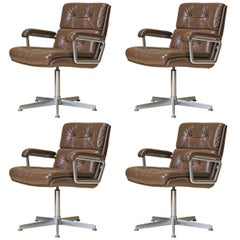 Set of 4 Leather-Upholstered Swivel Desk Chairs - France, 1960s
