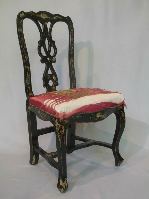 Pair Of Hand Painted Napoleon III Chairs   France, 1880s 2