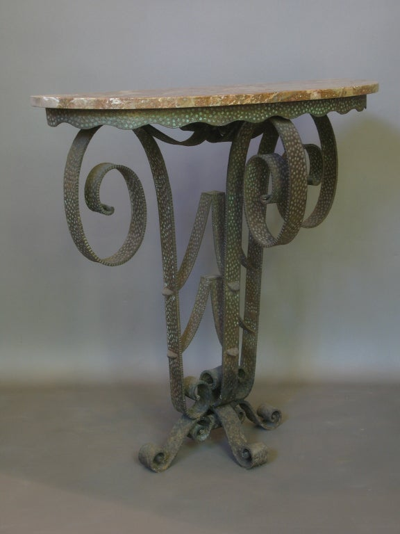 French Lovely Wrought Iron, Art Deco Console and Mirror For Sale