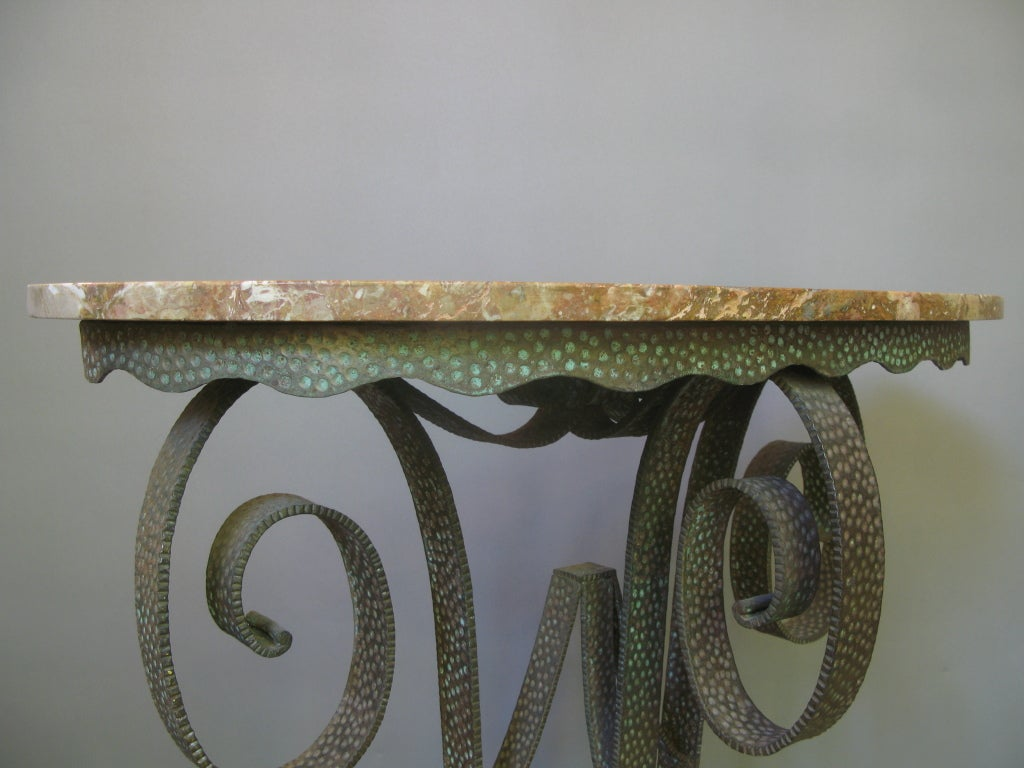 Lovely Wrought Iron, Art Deco Console and Mirror In Good Condition For Sale In Isle Sur La Sorgue, Vaucluse