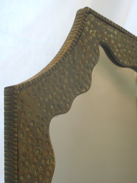 Lovely Wrought Iron, Art Deco Console and Mirror For Sale 2