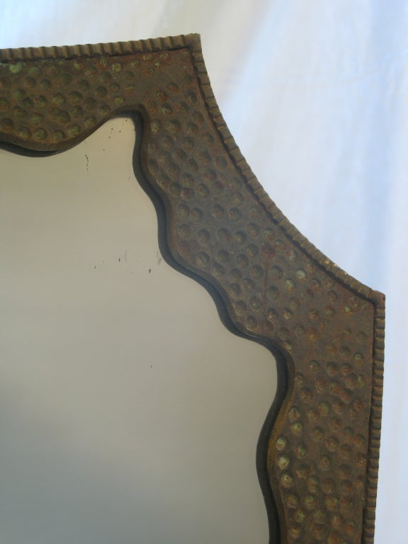 Lovely Wrought Iron, Art Deco Console and Mirror For Sale 3