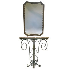 Lovely Wrought Iron, Art Deco Console and Mirror