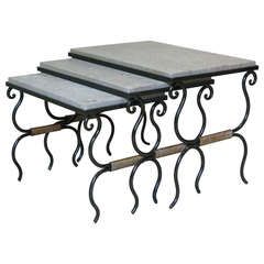 Set of 3 Wrought Iron Nesting Tables - France, 1950s