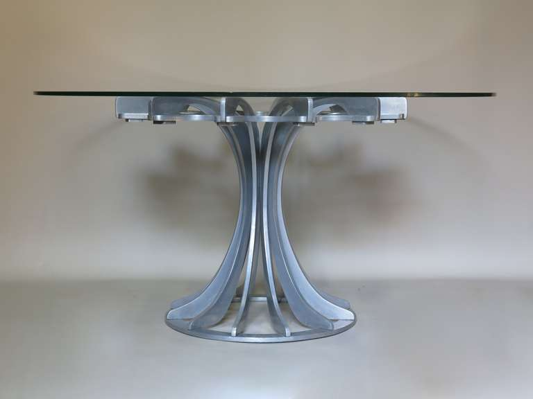 French Round and Glass Table For Sale