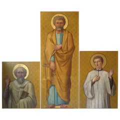 Three Larger-than-life Paintings of Saints, France, 19th Century