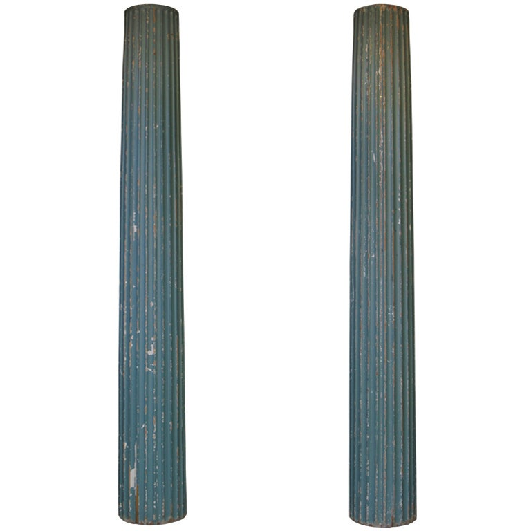 Pair of Fluted Wood Columns