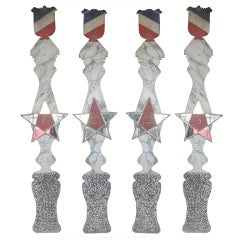 Set of 4 Faux-Marble Columns From a French Mairie
