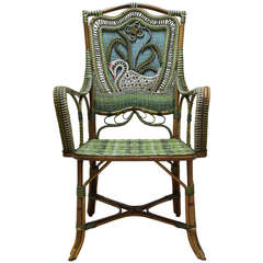 Rattan Armchair with Swan Decor - France, 19th Century