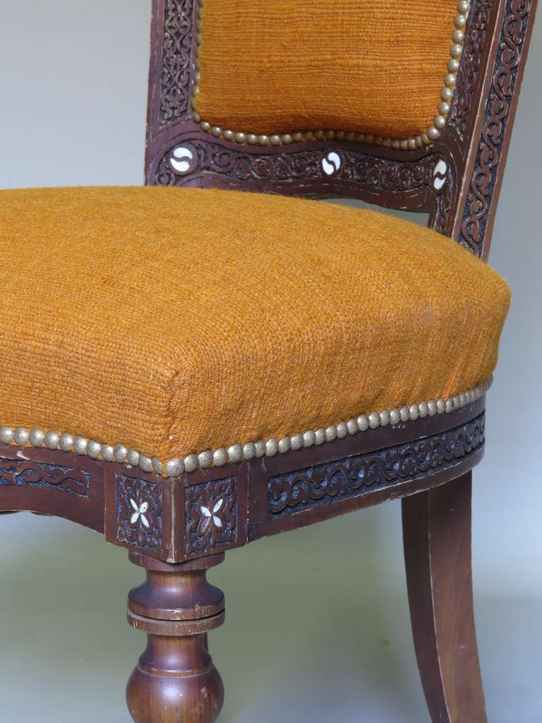 Elaborately Carved Oriental Side Chair Circa 1900 For
