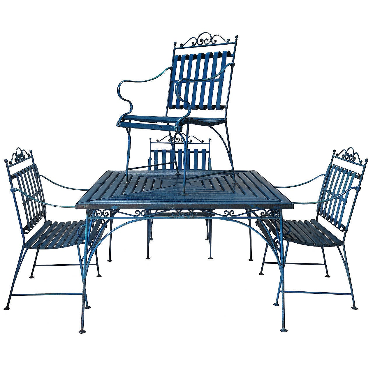 Lovely french 1930s wrought iron and wood garden table for Wrought iron garden furniture