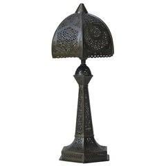 Small Oriental Filigree Brass Table Lamp, circa 1930s
