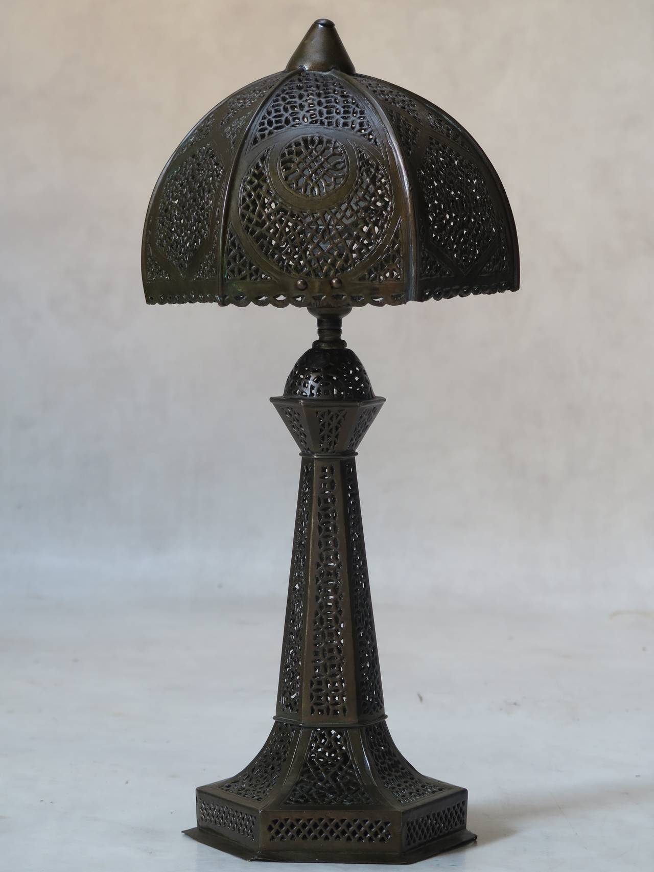 Small oriental filigree brass table lamp circa 1930s for sale at charming oriental six sided table lamp with intricate filigree work on brass aloadofball Choice Image
