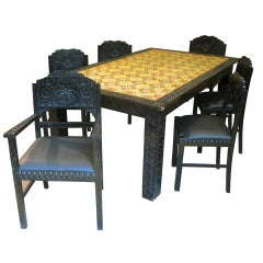 Moorish Style Dining Room Set with Colorful Tile-Top
