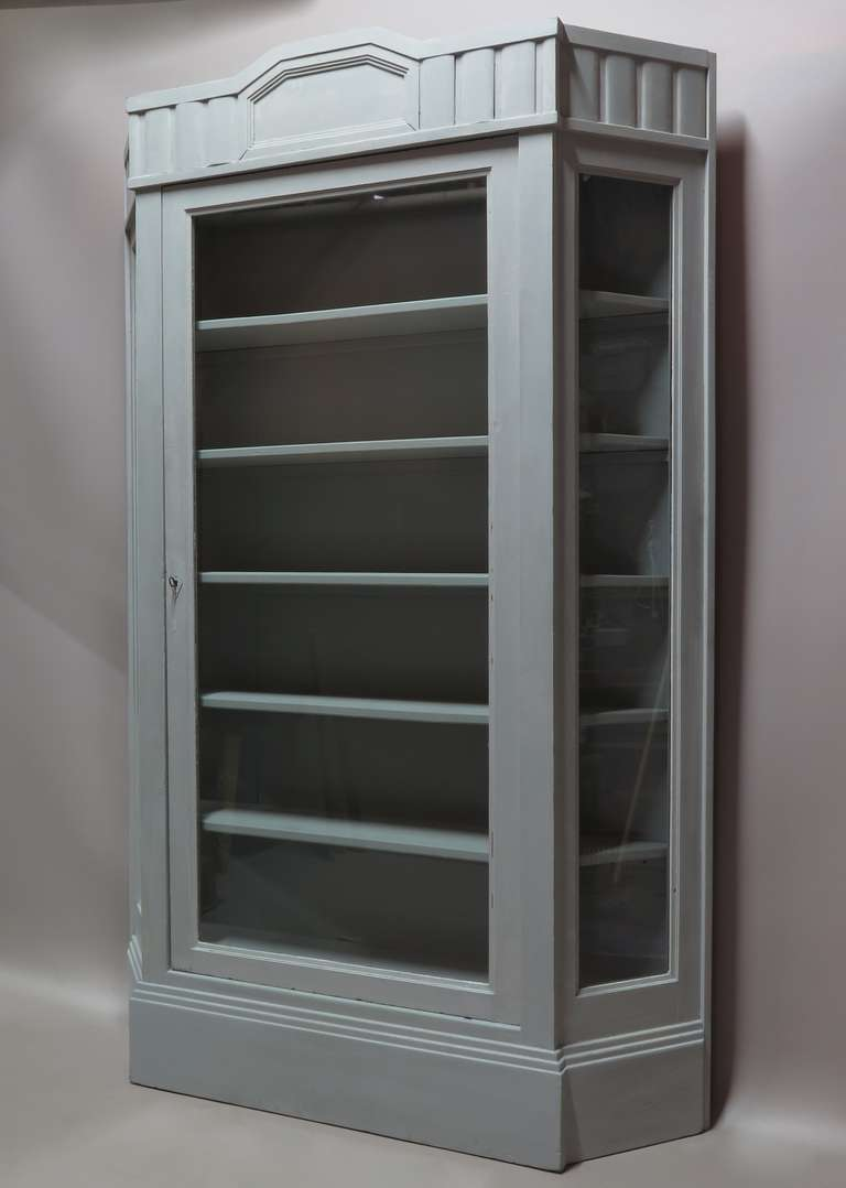 Art Deco Painted Vitrine with Canted Corners, France, circa 1920s For Sale