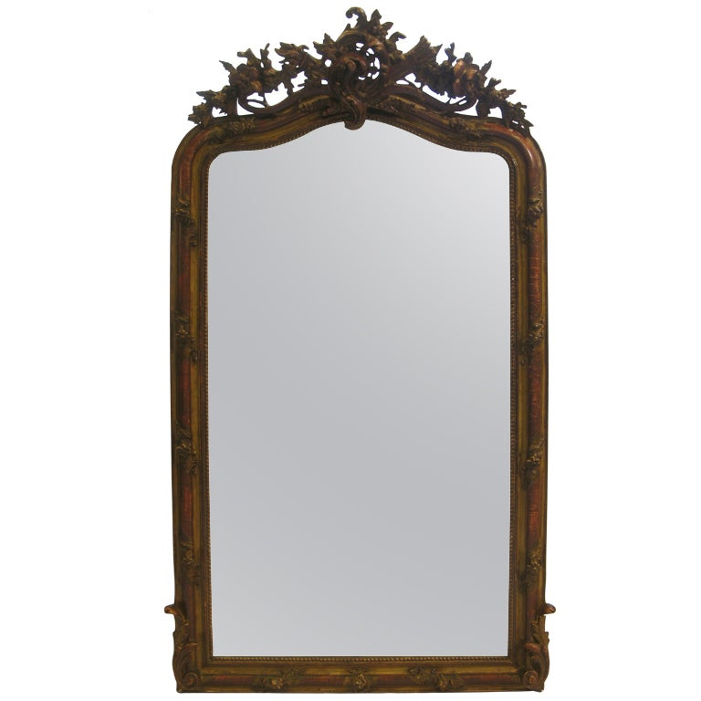 Tall french gilt over mantle mirror at 1stdibs for Mantle mirror