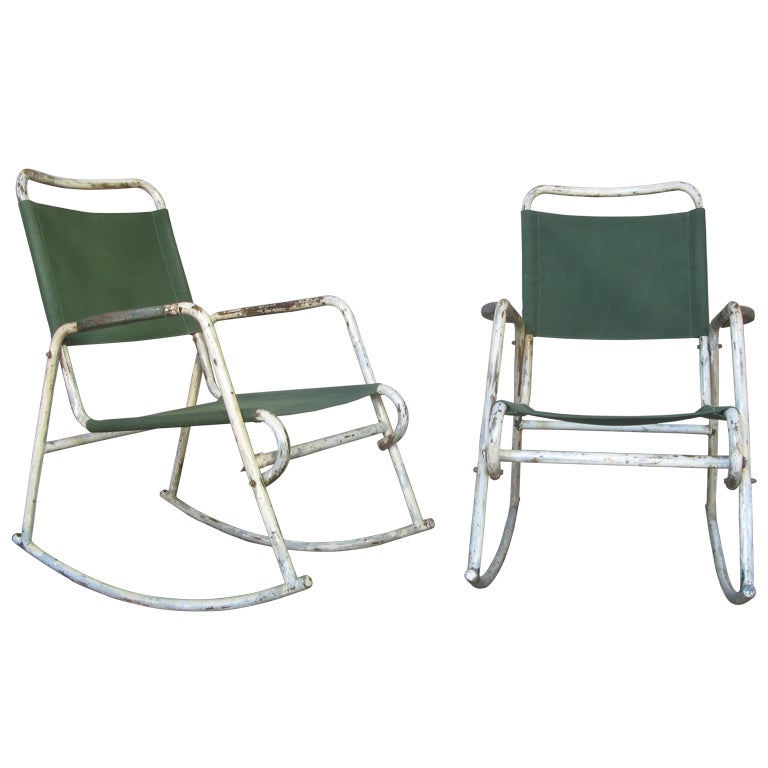 Pair Of Tubular Metal And Canvas Rocking Chairs For Sale