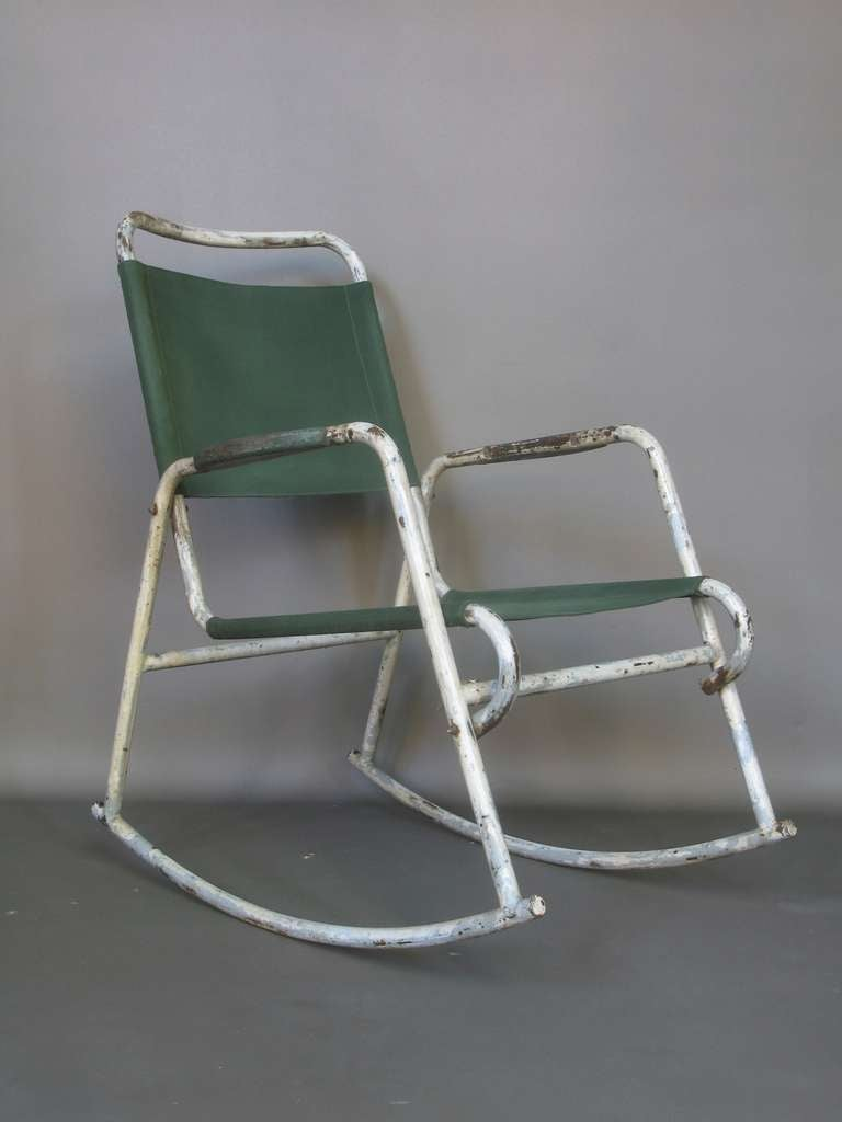 Pair of Tubular Metal and Canvas Rocking Chairs at 1stdibs