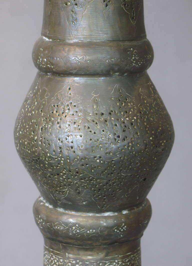 Antique Oriental Brass Floor Lamp For Sale 3