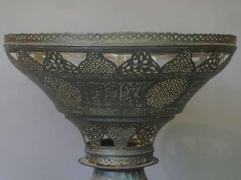 Antique Oriental Brass Floor Lamp In Good Condition For Sale In Isle Sur La Sorgue, Vaucluse