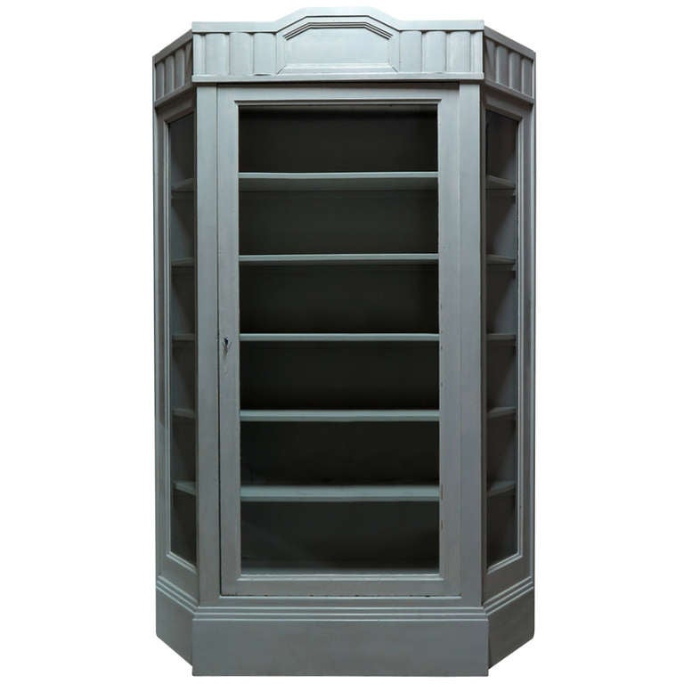 Painted Vitrine with Canted Corners, France, circa 1920s For Sale
