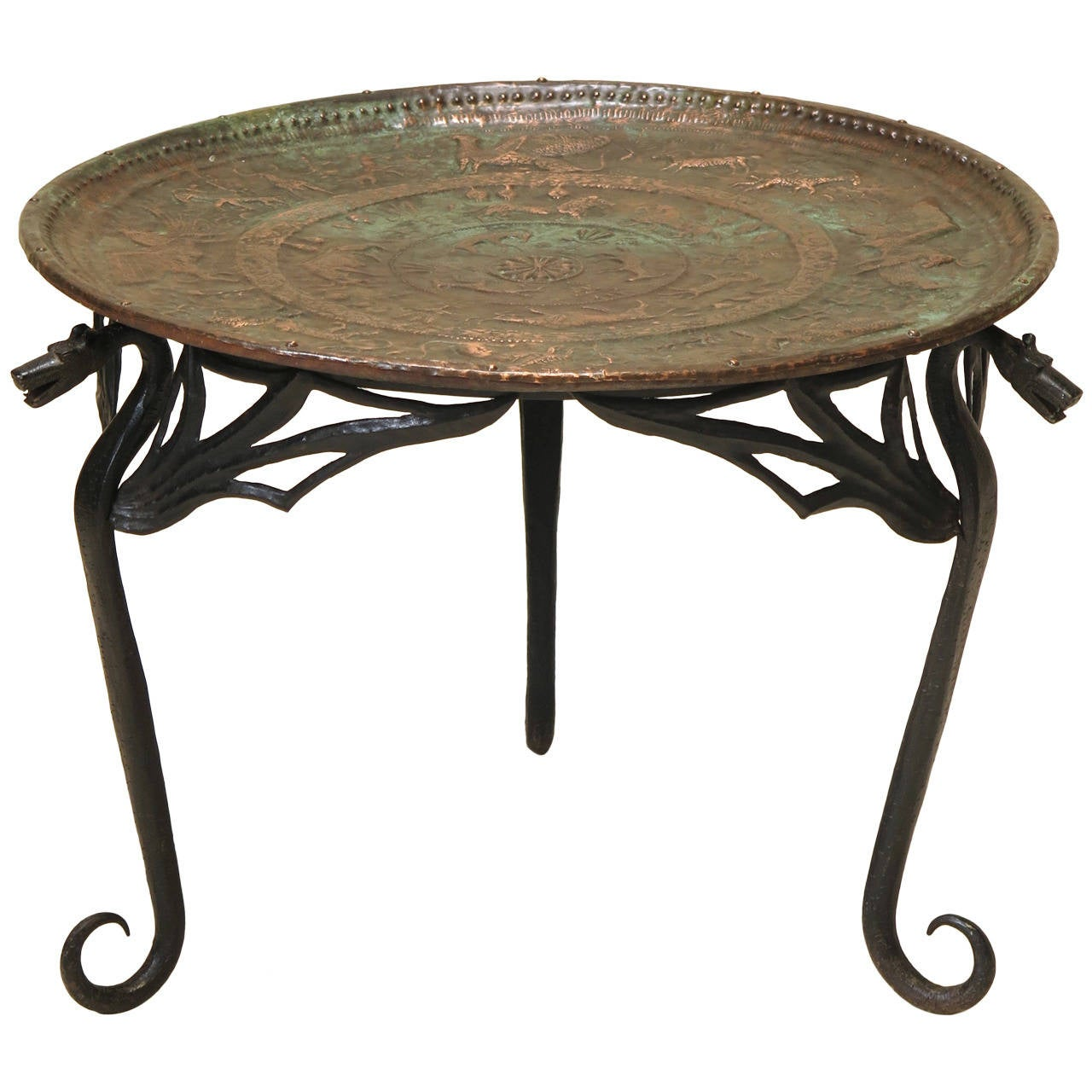 Wrought Iron Dragon Coffee Table With Copper Top France Early 1900s For Sale At 1stdibs