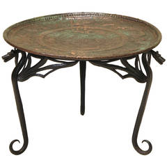 "Wrought Iron ""Dragon"" Coffee Table with Copper Top, France, Early 1900s"