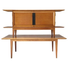 Japanese-Inspired Oak Credenza and Dining Table by Colette Gueden, France, 1950s