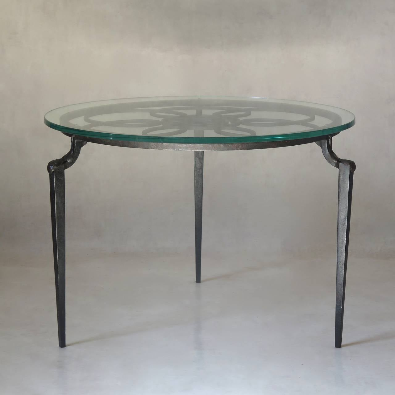 French monogrammed wrought iron coffee table with glass for Oval wrought iron coffee table with glass top