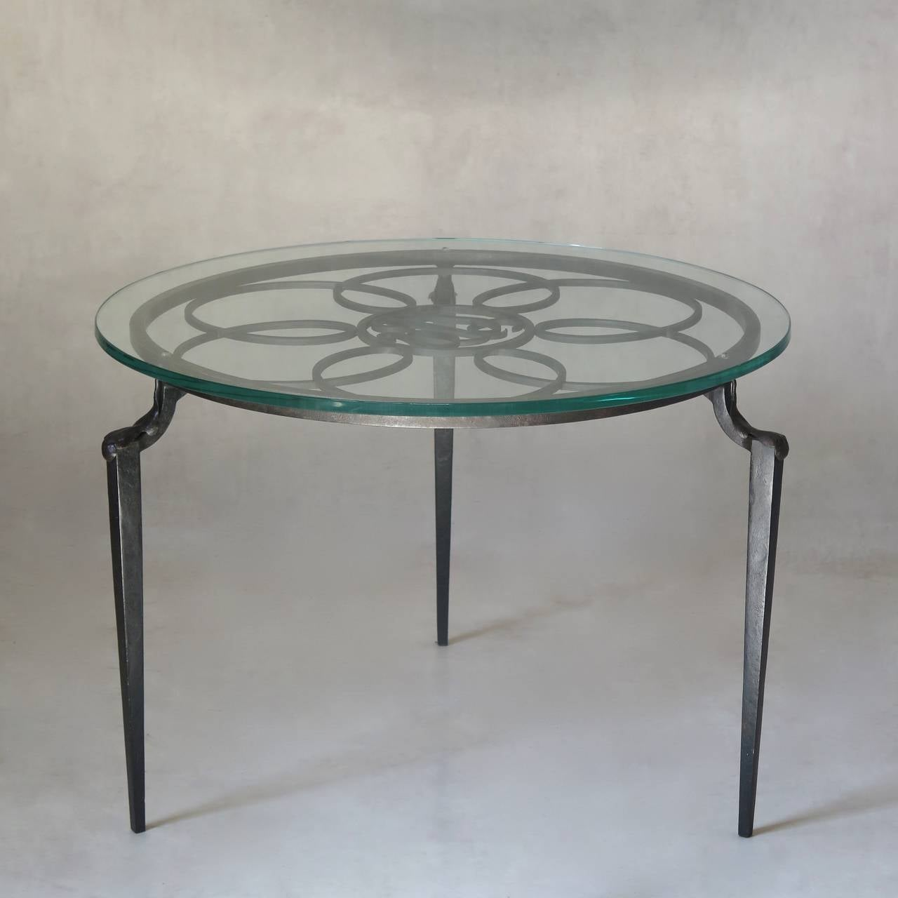 French Monogrammed Wrought Iron Coffee Table With Glass Top Circa 1930s At 1stdibs