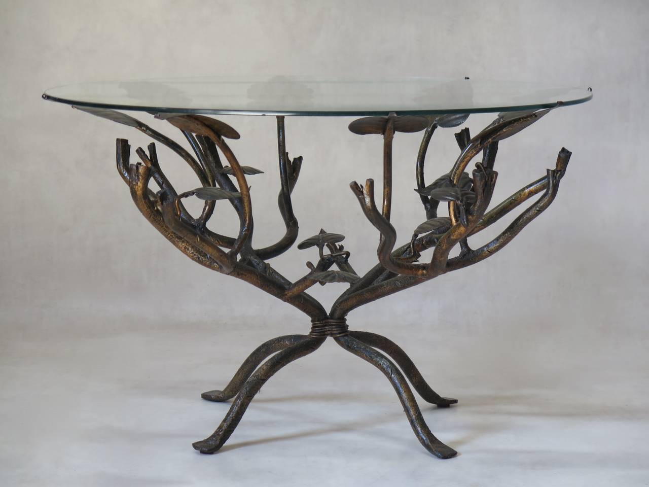 Charming Circular Coffee Table With A Base Of Twigs And Leaves Made Solid Wrought Iron