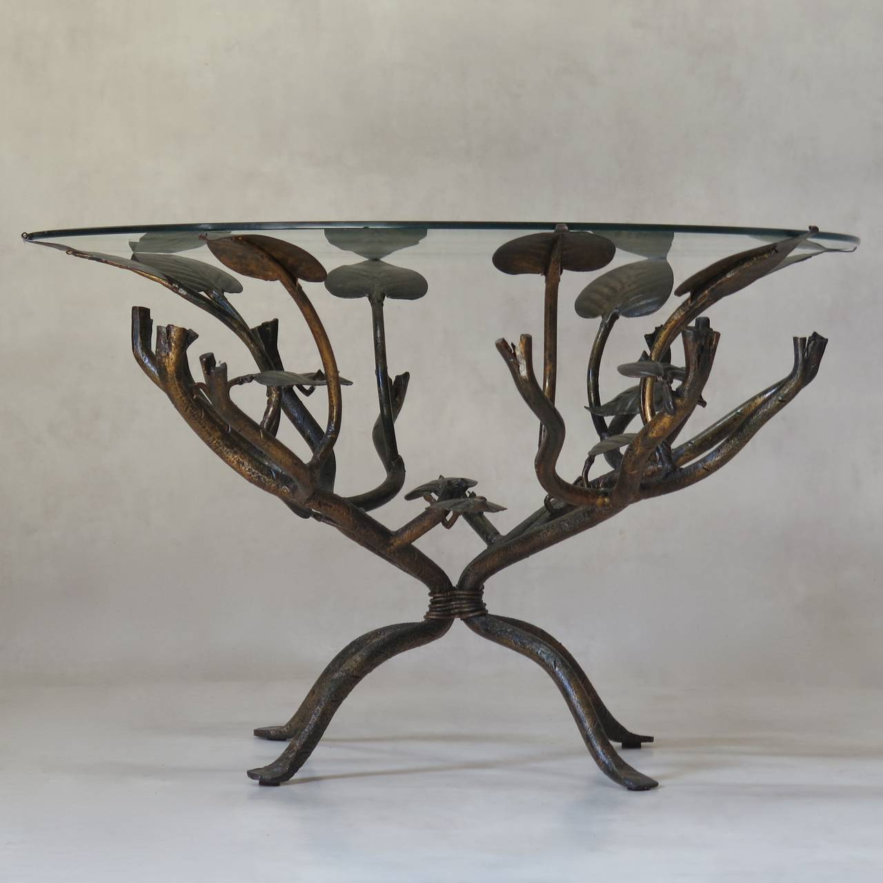 Gilt wrought iron leaf coffee table france circa 1950s for Wrought iron coffee table for sale