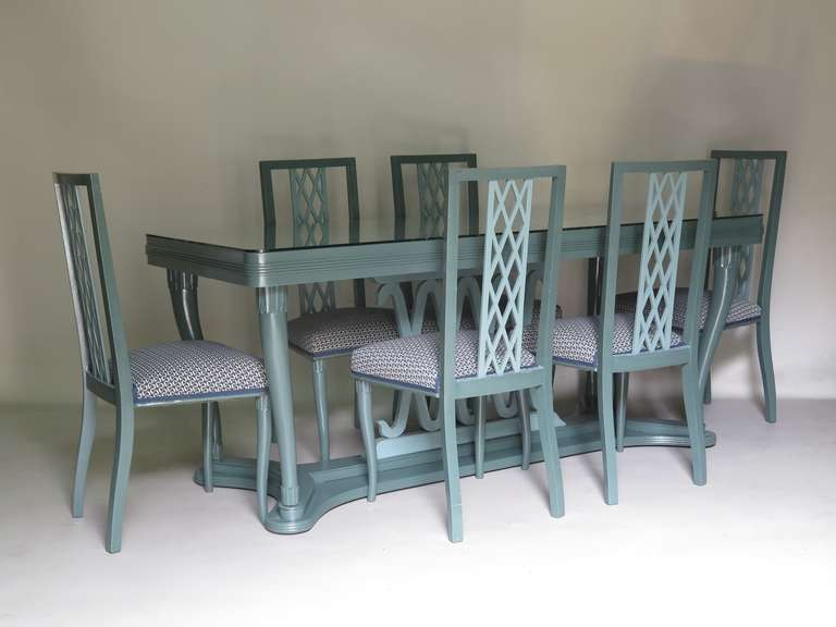 Italian 1940s Dining Table and Six Chairs with Criss-Cross ...