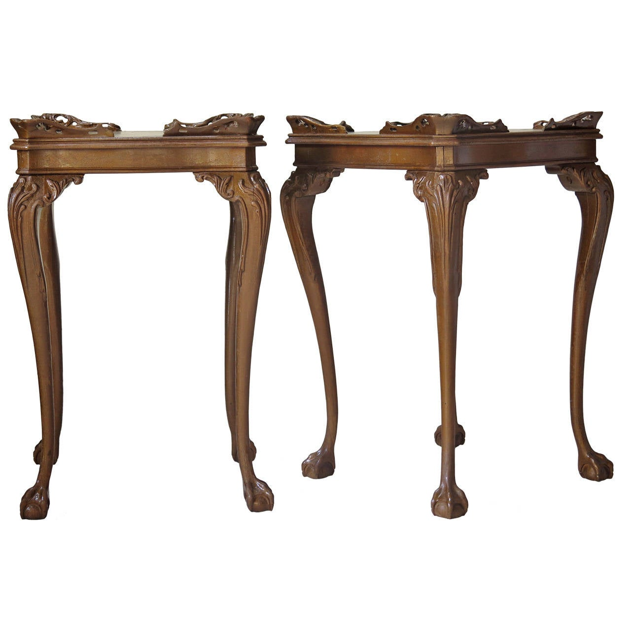 Pair of Ball and Claw Side Tables, France, Late 19th Century