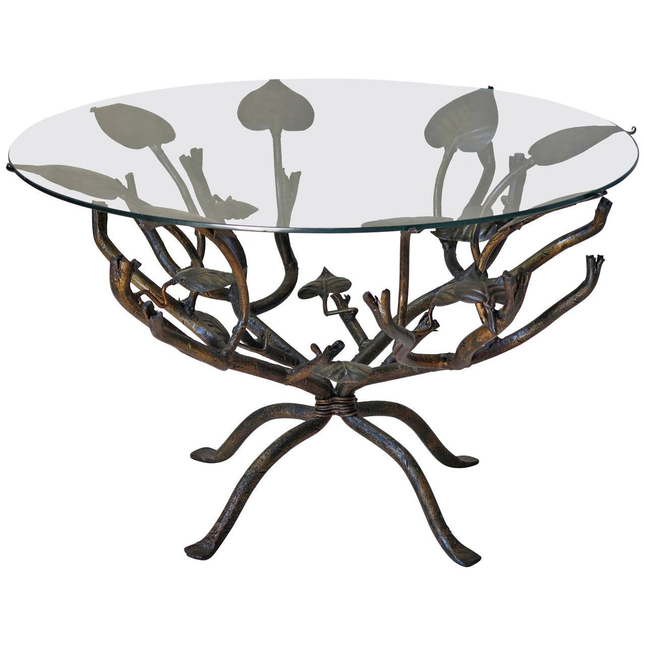 Gilt wrought iron leaf coffee table france circa 1950s for Round wrought iron and glass coffee table