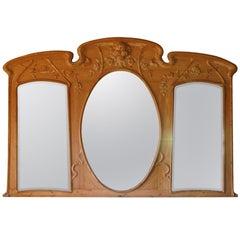 Giant French Art Nouveau Mirror