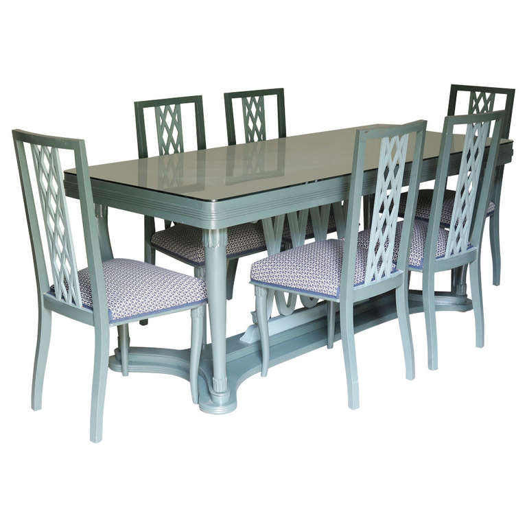 Italian, 1940s Dining Table and Six Chairs with Criss-Cross Motif