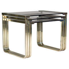 Set of Three Brass and Glass Nesting Tables, France, circa 1960s