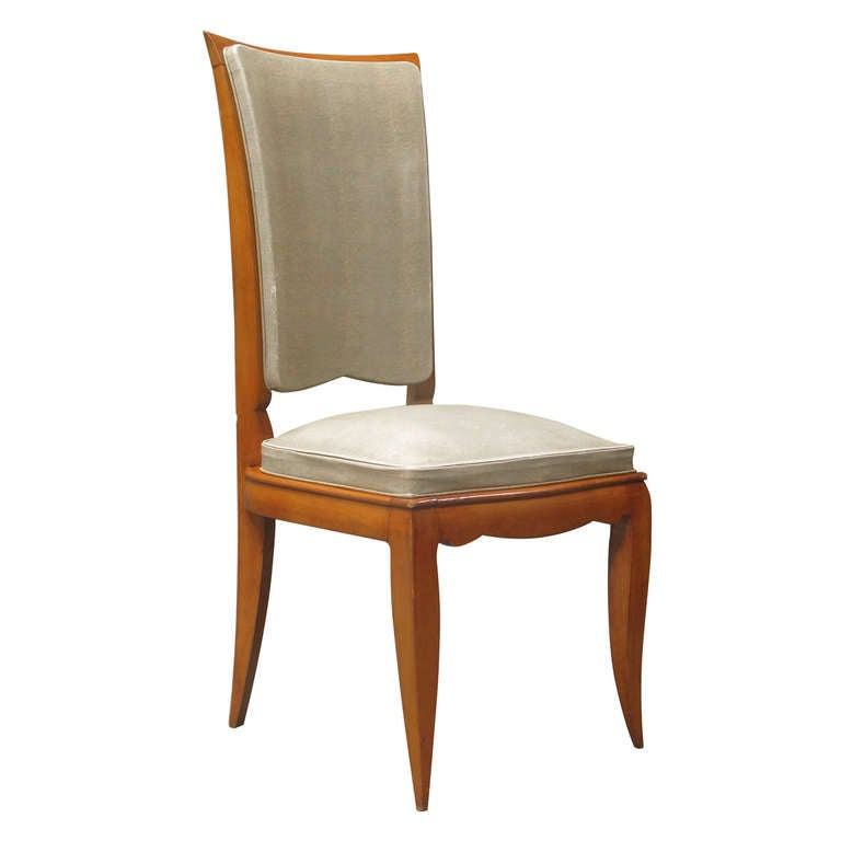 Set of Eight Dining Chairs Attributed to René Prou, France, 1940s For Sale