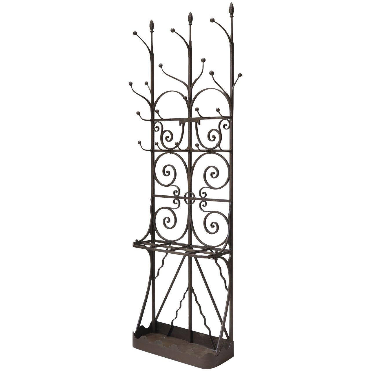 Neo Gothic Wrought Iron Coat Stand France Early 1900s 1