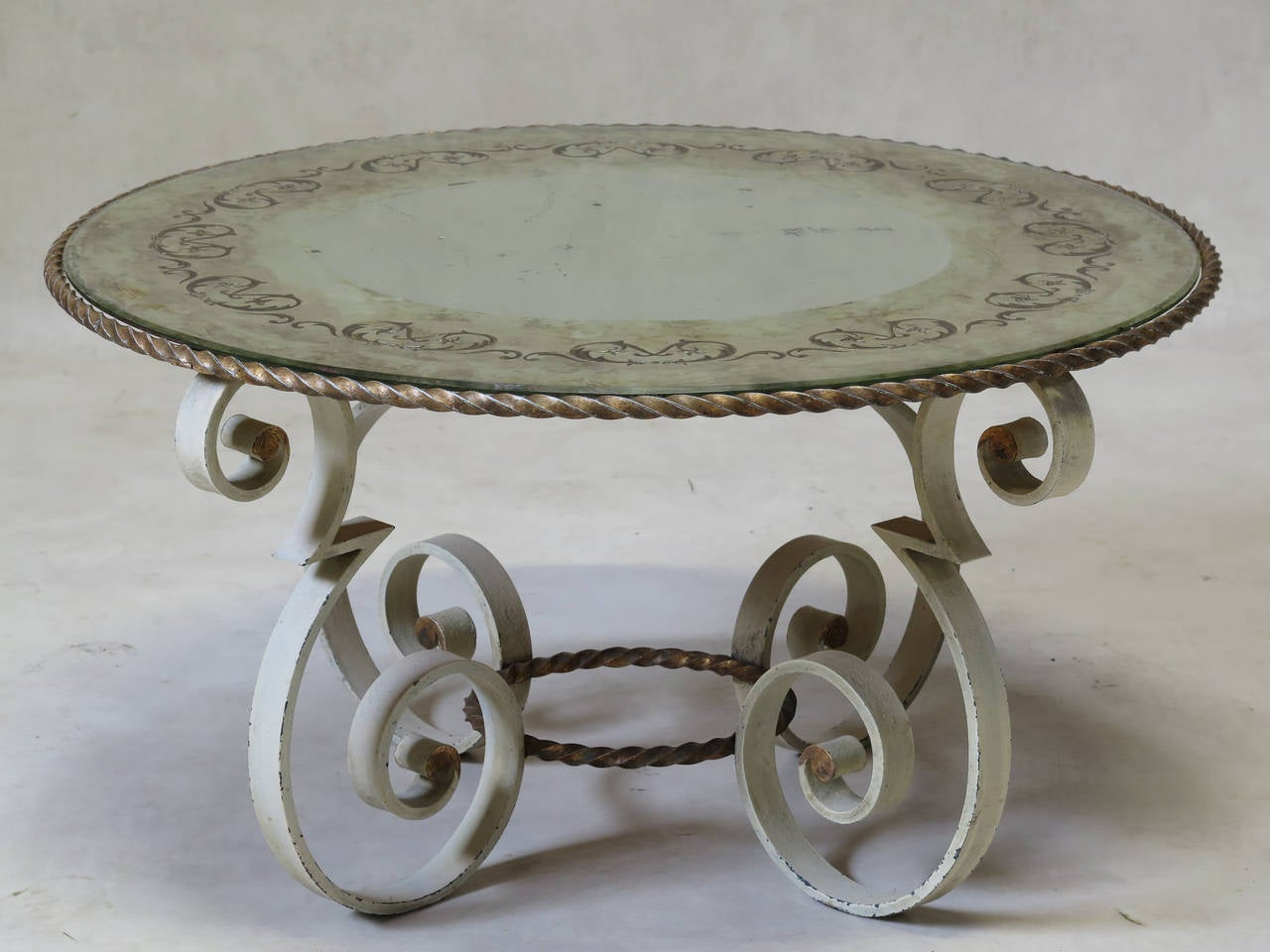 Wrought Iron Coffee Table With Eglomis Mirror Top France 1940s For Sale At 1stdibs
