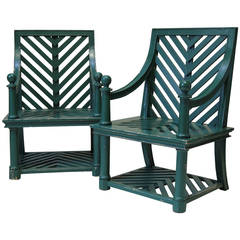 Pair of Garden Chairs Attributed to Emilio Terry, France Mid-20th Century