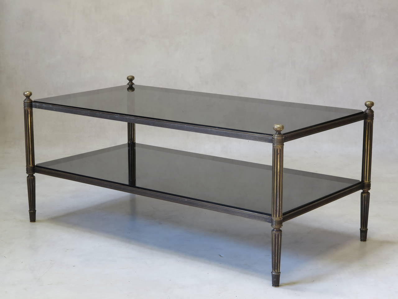 Pair Of Solid Bronze And Glass Coffee Tables France 1940s At 1stdibs