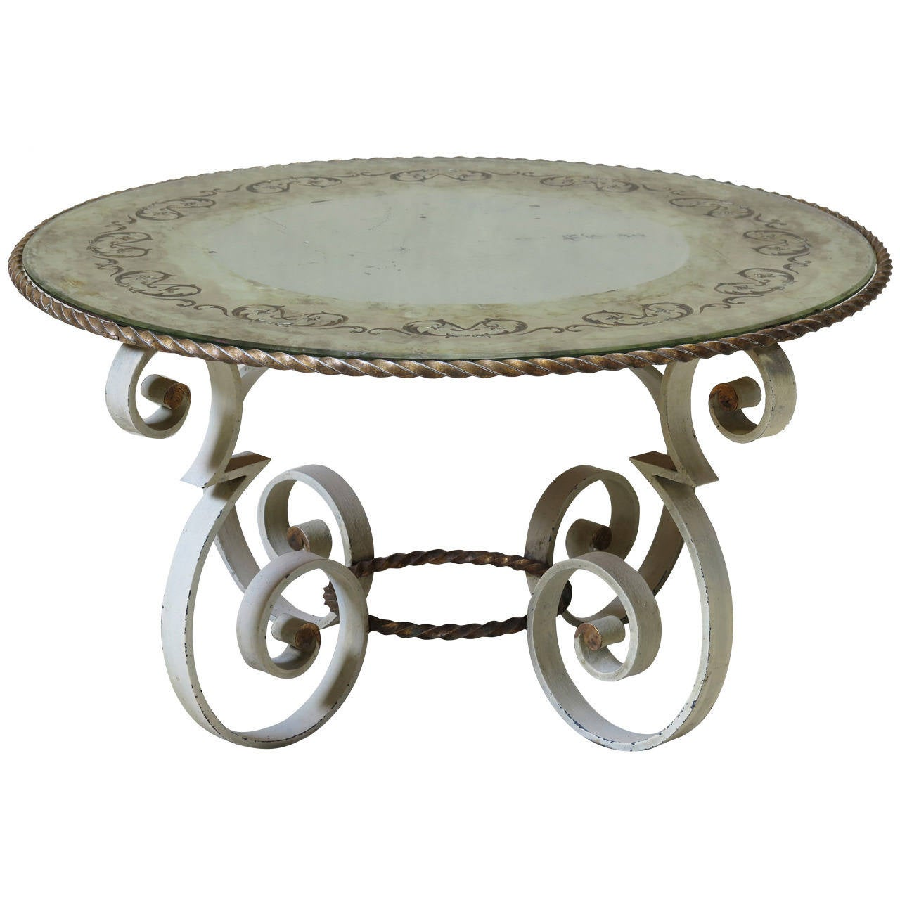 Wrought iron coffee table with eglomis mirror top france 1940s at 1stdibs Wrought iron coffee tables